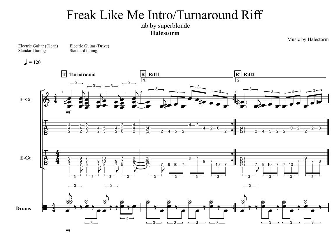 Halestorm-Freak-Like-Me-Intro-Turnaround-Riff-Std-Tuning